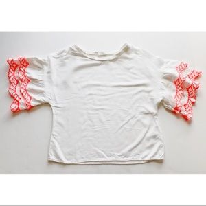 Girls- White Rayon Top with bright Pink Sleeve
